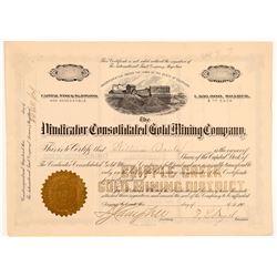 Vindicator Cons. Gold Mining Company Stock Certificate   (104227)