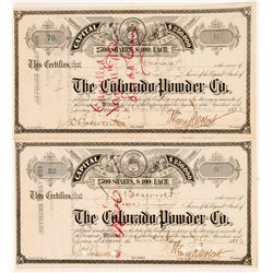 The Colorado Powder Company (Explosives) Stock Certificates   (104353)