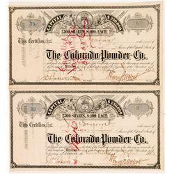 The Colorado Powder Company (Explosives) Stock Certificates   (104353)