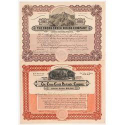Two Cross Creek, Colorado Mining Stock Certificates   (104248)