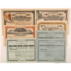 Seven Idaho Springs, Colorado Mining Stock Certificates   (103485)