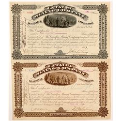 Catalpa Mining Company Stock Certificates Signed by JP Whitney   (107188)