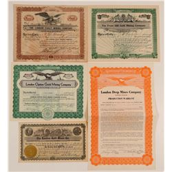Five Different Leadville Mining Stock Certificates   (103495)