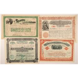 Four Different Leadville Mining Stock Certificates   (104216)