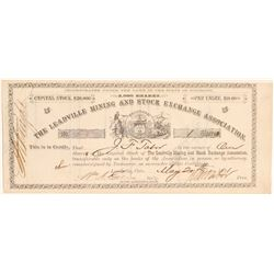 Leadville Mining and Stock Exchange Stock Signed by Tabor   (104761)