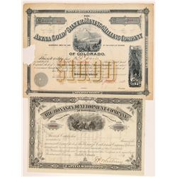 Two Different Leadville Mining Stock Certificates   (107186)