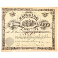 Waterloo Mining Co. of Colorado Stock Certificate   (104306)