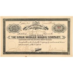 Ophir Needles Mining Company Stock Certificate   (104452)