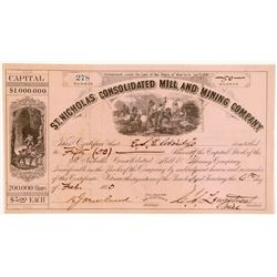 St. Nicholas Cons. Mill & Mining Co. Stock Certificate   (104465)