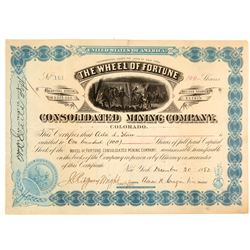 Wheel of Fortune Cons. Mining Company Stock Certificate   (104308)