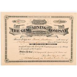 Gem Mining Company Stock Certificate   (104271)