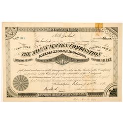 Mount Lincoln Cons. Mining Company Stock Certificate   (104454)
