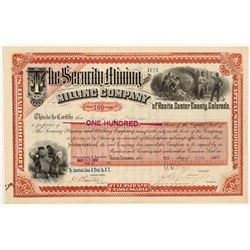 Security Mining & Milling Company Stock Certificate   (104299)