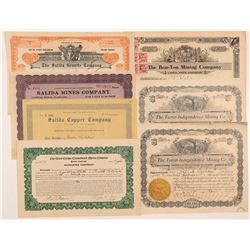 Seven Salida, Colorado Mining Stock Certificates   (104196)