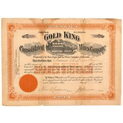 Gold King Consolidated Mines Co. Stock Certificate   (103499)