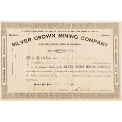 Silver Crown Mining Company Stock Certificate   (104317)