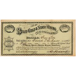 Solid Gold & Silver Mining Co. Stock Certificate   (104321)