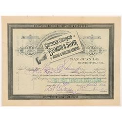 Southern Colorado Bismuth & Silver Mining & Smelting Co. Stock Certificate   (104322)