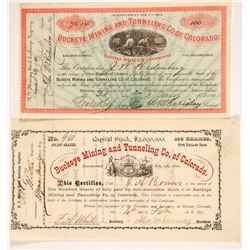 Two Different Buckeye Mining & Tunneling Co. of Colorado Stock Certificates   (86739)
