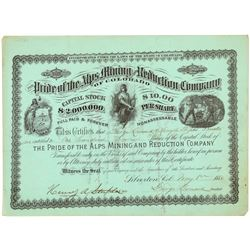 Pride of the Alps Mining & Reduction Co. Stock Certificate   (104313)
