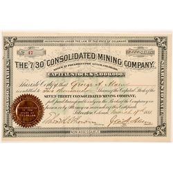 "The ""7/30"" Cons. Mining Company Stock Certificate   (104297)"