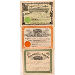 Three Different Silverton Mining Stock Certificates   (104226)
