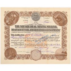 Square Deal Mining, Milling, Drainage Tunnel & Transportation Co. Stock Certificate   (104198)