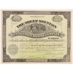 Sheep Mountain & 10 Mile Mining Co. Stock Certificate   (104296)
