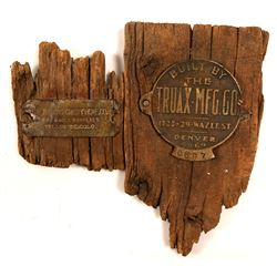 Two Colorado Historic Metal Plaques Still attached to Original Wood   (104504)
