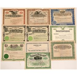 Colorado Coal & Related Mining Stock Certificates   (104206)