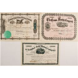 Ivanhoe Gold Mining, Crown Mining, Reliance Gold & Silver Mining Stock Certs.   (76229)