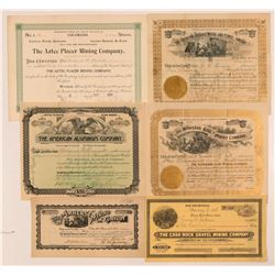 Six 1890s Colorado Mining Stocks w/ Unknown Locations   (107326)