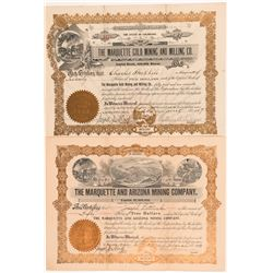 "Two ""Marquette"" Mining Stock Certificates: Arizona and Colorado   (104256)"
