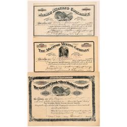 Deadwood Stock Certs (3)   (108154)