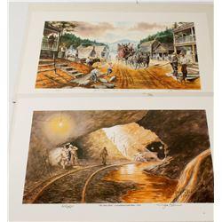 2 Dahlonega Mining Lithographs   (56135)