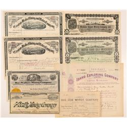 Eight Idaho Mining Stock Certificates   (104391)