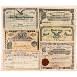 Six Different Idaho Mining Stock Certificates   (104392)