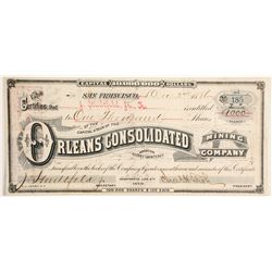 Orleans Consolidated Mining Company Stock - Signed by president Fish   (88121)