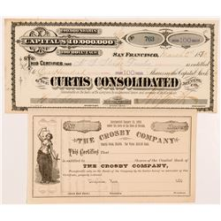 Two Comstock Stock Certificates (Gold Hill & Virginia City)   (104367)