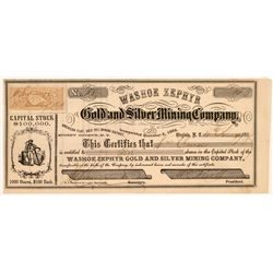 Washoe Zephyr Gold & Silver Mining Co. Stock Certificate   (107043)