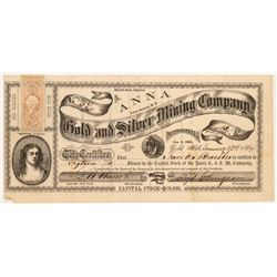 Anna Gold & Silver Mining Company Stock Certificate   (107039)
