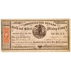 Consolidated Nevada Gold & Silver Mining Co. Stock Certificate   (107046)