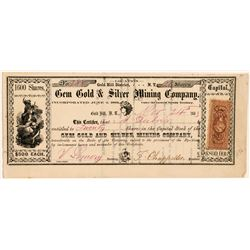 Gem Gold & Silver Mining Company Stock Certificate   (107041)
