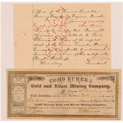 Como Eureka Gold & Silver Mining Co. Stock Certificates    (107308)