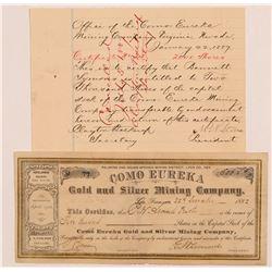 Como Eureka Gold & Silver Mining Co. Stock Certificates    (107308)