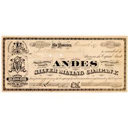 Andes Silver Mining Co. Stock Certificate (GT Brown Lith.)   (107055)