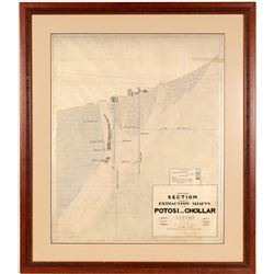 Framed Potosi and Chollar Mines Extraction Shafts Print   (106488)