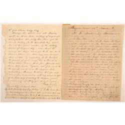Virginia City, Nevada Territory Letters from the Scorpion Mine About Supt.'s Death   (107394)