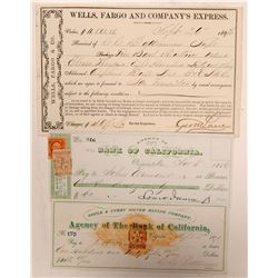 Wells Fargo Virginia City, Nevada Gould & Curry Bullion Receipt & Two Checks   (107404)
