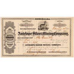 Antelope Silver Mining Company Stock - Mark Twain Related   (108063)